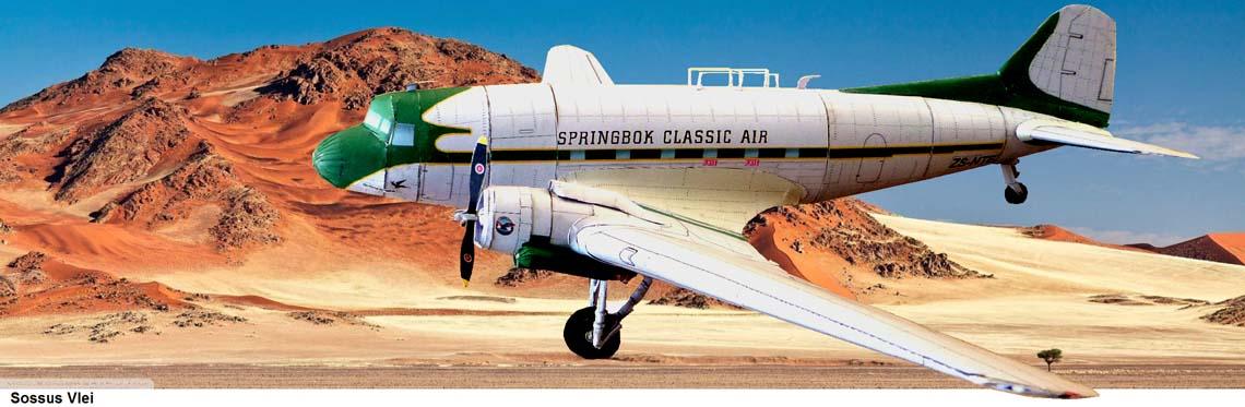 "Papercraft imprimible y armable del avión Douglas DC-3 ""Dakota"" de Springbox Classic Air. Scale 1:50. Manualidades a Raudales."