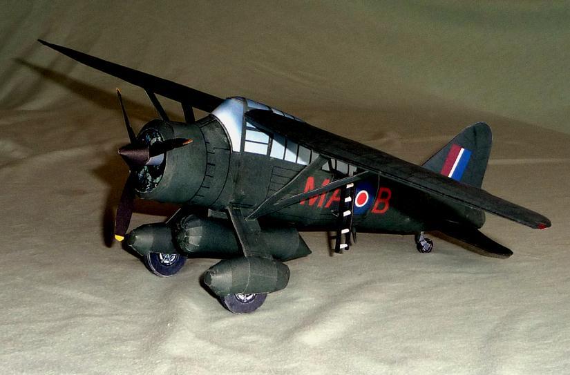 Papercraft imprimible y recortable del avión Westland Lysander Mk III. Manualidades a Raudales.