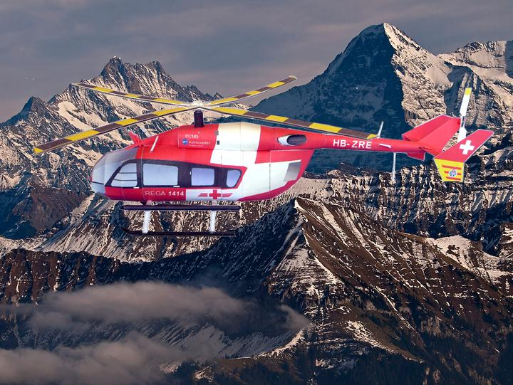 Papercraft imprimible y armable del Helicóptero Eurocopter EC145T2. Manualidades a Raudales.